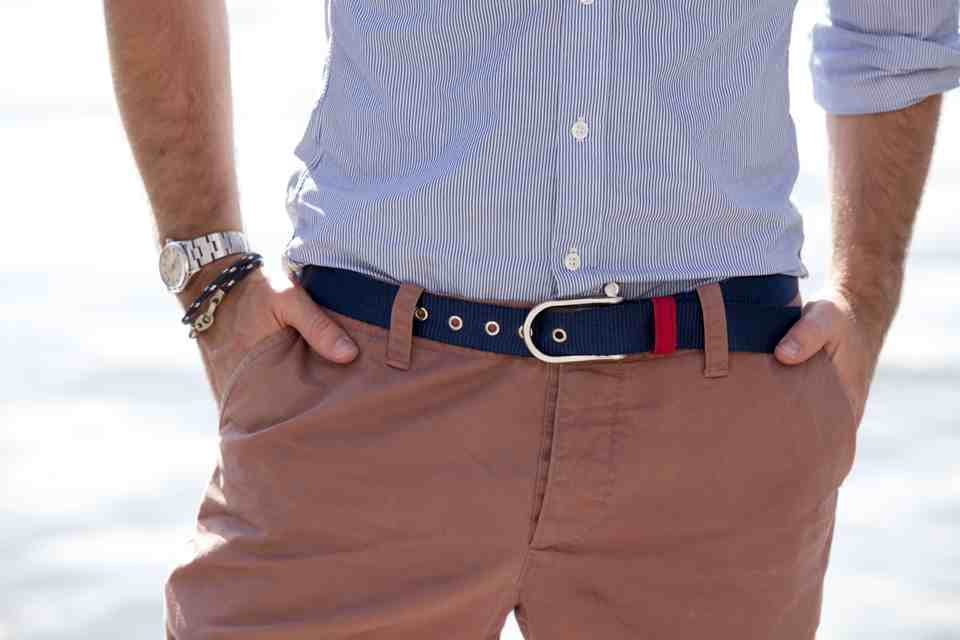 Our D Shackle Webbing Belt In Navy And Brummel Bracelet Marine Blue Hand Braided Leather